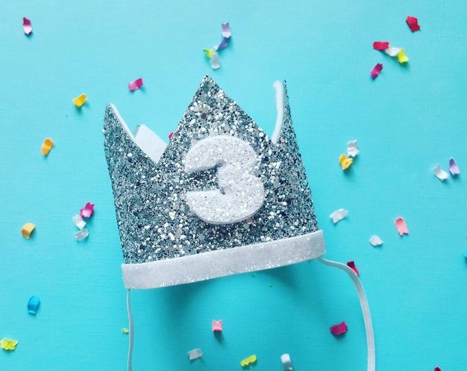 Birthday Crown    White and Silver Birthday    Silver Crown    Birthday Girl    First Birthday    Baby Crown    Birthday