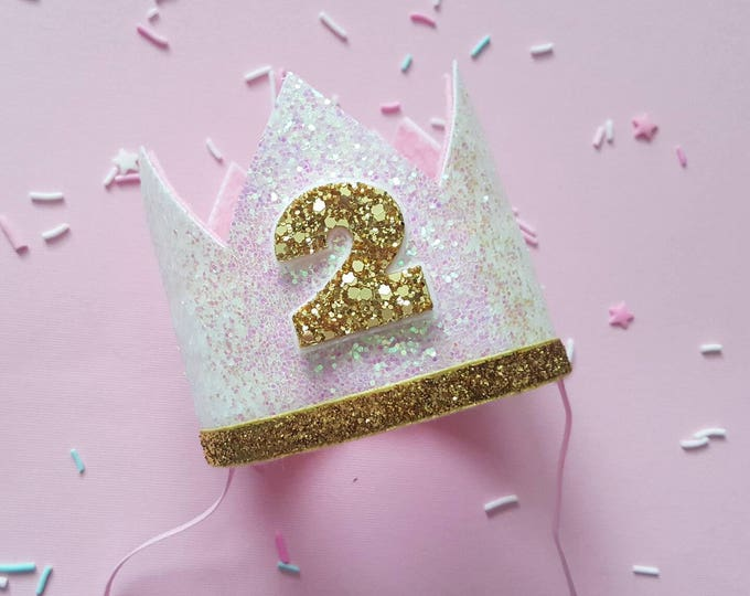Glittery Birthday Crown   Birthday Crown   2nd Birthday Crown   Girl Birthday Crown   Baby Birthday   Pink and Gold   Ready to Ship