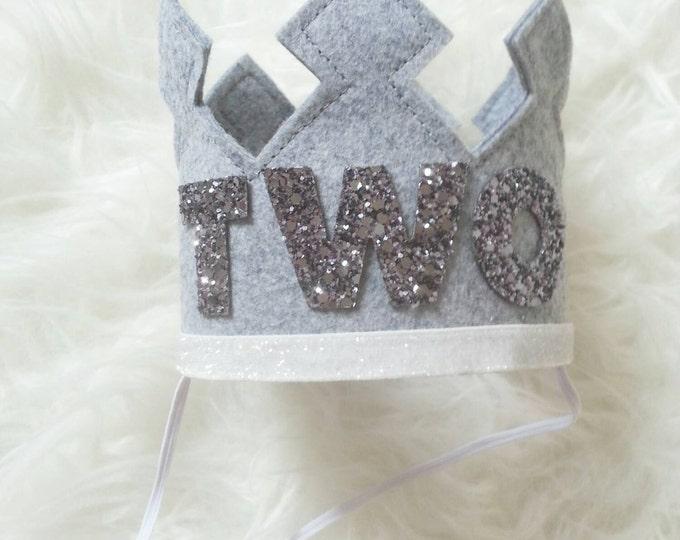 Birthday Crown | Baby Birthday Crown | Birthday Crown Gray | Felt Crown | Photo Prop Birthday | Ready to Ship, TWO crown, birthday