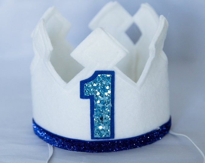 First Birthday | Felt Crown White and Blue | Birthday Party Hat | Cake Smash | 1st Birthday | Birthday Crown