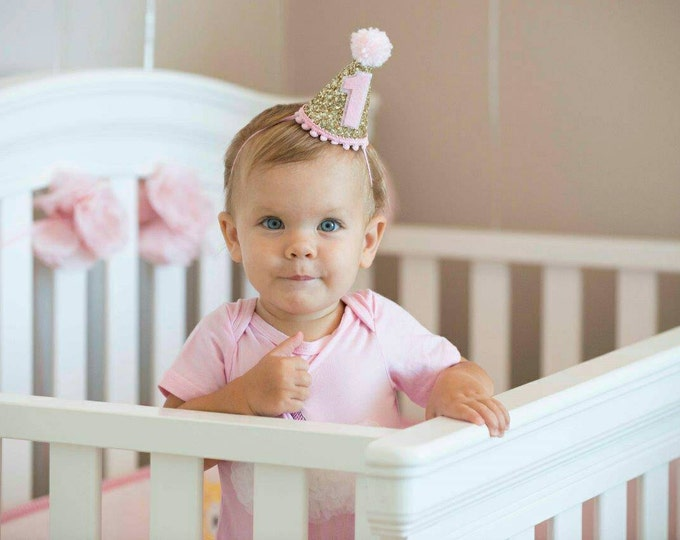 Mini Glittery First Birthday  Party Hat | Gold and Pink | Cake Smash | 1st Birthday | Baby | Ready to Ship