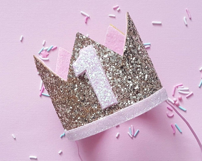 Birthday Crown    Pink and Gold Birthday    Gold Crown    Birthday Girl    First Birthday    Baby Crown    Birthday Girl