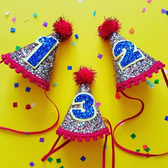Baby Birthday Birthday 1st Birthday Cake Smash Circus Theme Party Hat Mini Glittery Birthday Party Hat Ready to Ship