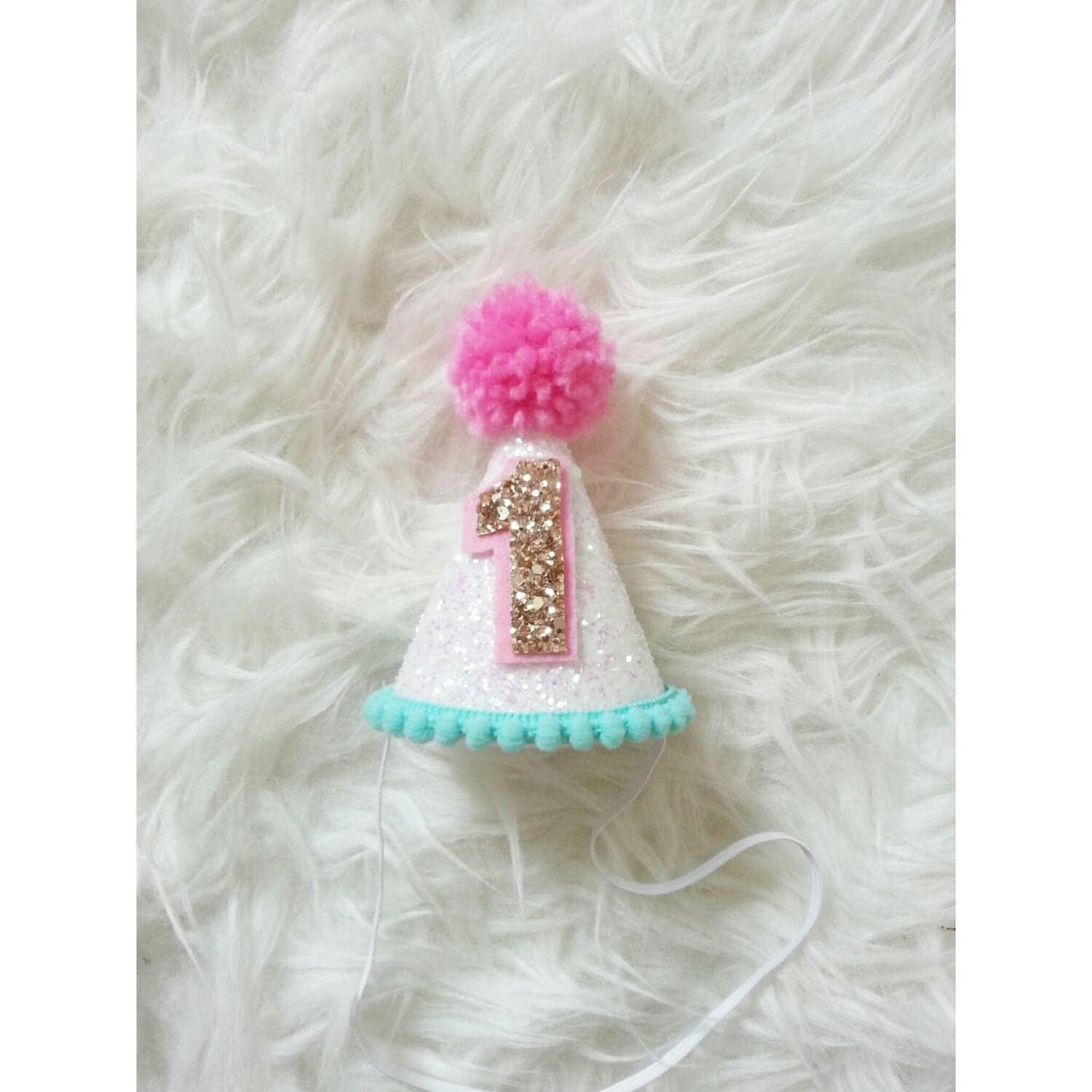Baby Girl Mini Glittery Birthday Party Hat