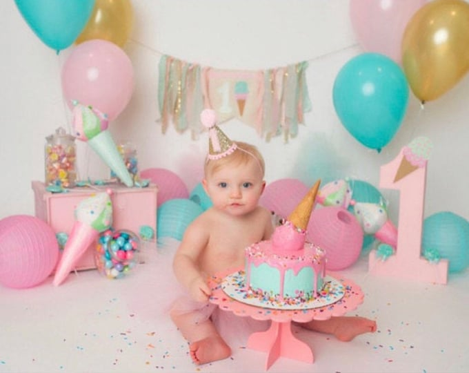 Glittery Mini Party Hat    Gold and Pink    Cake Smash Photo Prop    First Birthday