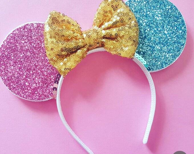 Sleeping Princess Mouse Ears Headband | Mouse Birthday |  Headband Ears | Mouse Ears| Make it Pink | Make it Blue
