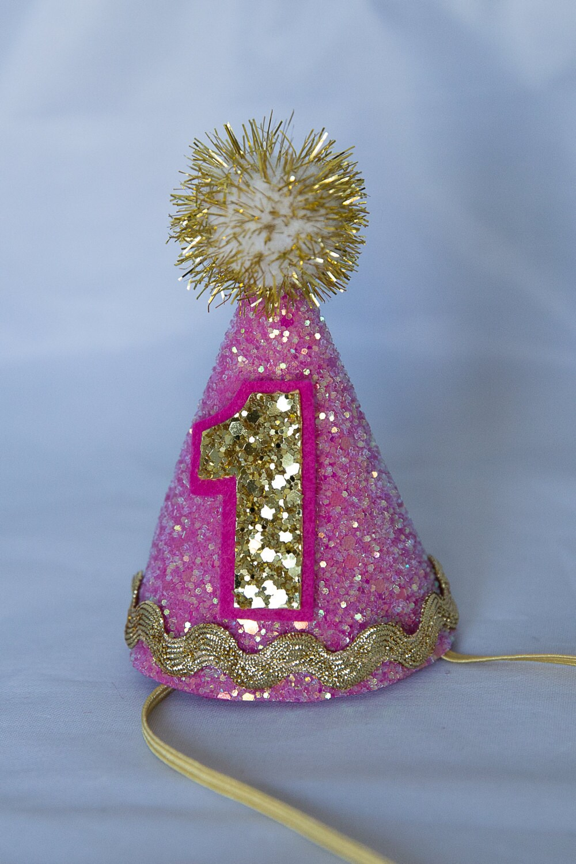 Mini Glittery Birthday Party Hat First Baby Cake Smash 1st Girl