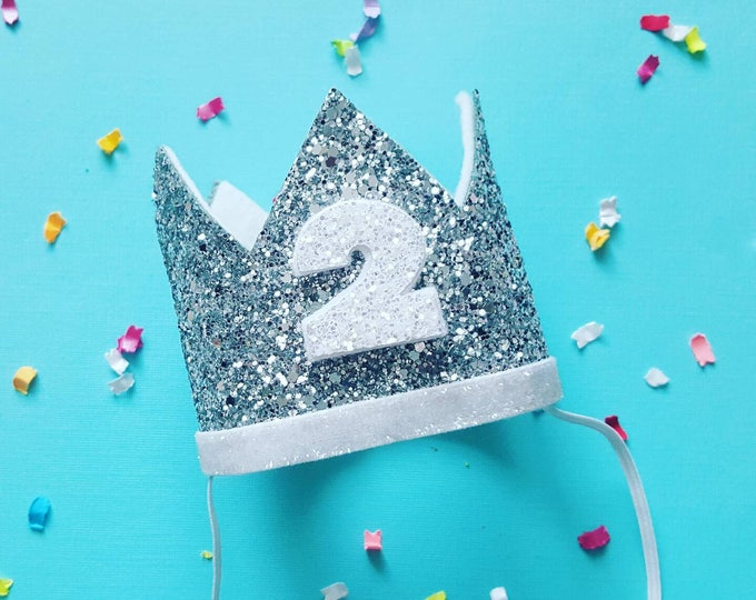 Birthday Crown    White and Silver Birthday    Silver Crown    Birthday Girl    2nd Birthday    Baby Crown    Birthday