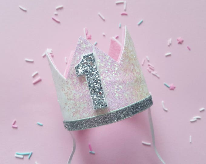 Glittery Birthday Crown   Birthday Crown   1st Birthday Crown   Girl Birthday Crown   Baby Birthday   Pink and Silver   Ready to Ship