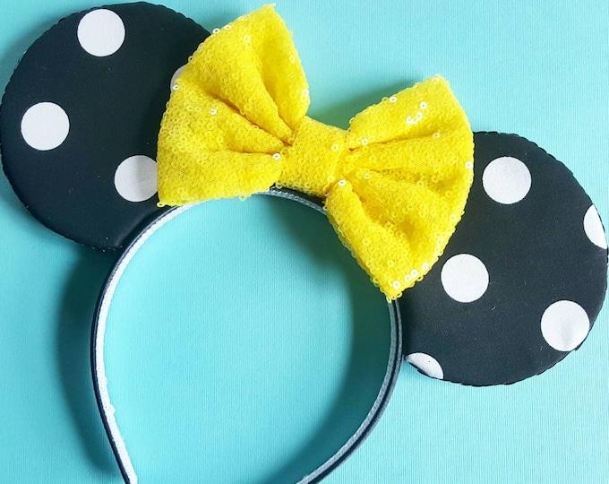 Polka Dot Mouse Ears || Mouse Ears || Ears || Polka Dot Ears || Mouse Ears Headband || Mouse Ears || Sparkle Mouse Ears || RTS