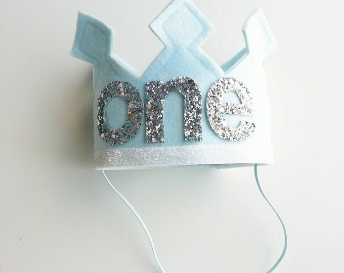 First Birthday Felt Crown | Ice Blue and Silver Birthday Party Hat | Cake Smash | 1st Birthday | Birthday Crown
