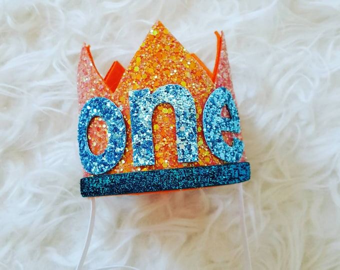 Glittery Birthday Crown | Birthday Crown | 1st Birthday | BabyGirl Birthday | Baby Birthday | Orange and Aqua Birthday Crown | Ready to Ship