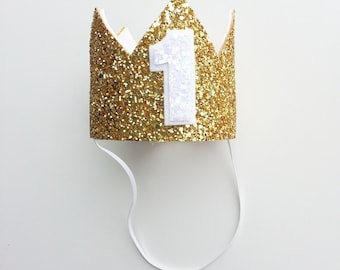 Glittery Gold and White First Birthday Crown || Birthday Crown || Gold Glitter Birthday Crown || Cake Smash