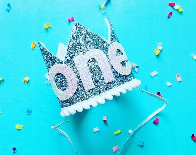 Birthday Crown    White and Silver Birthday    Silver and White    Crown    Birthday Girl    First Birthday    Baby Crown    Birthday