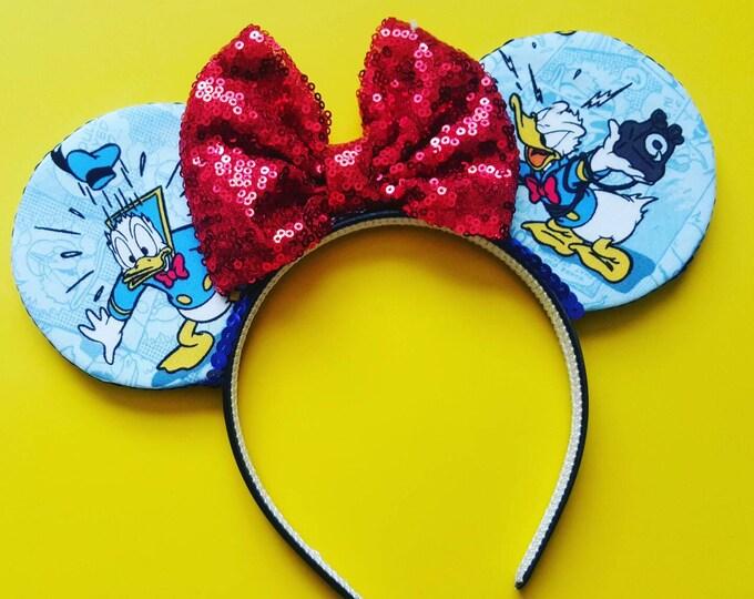 Duck Mouse Ears     Donald Ears    Mouse Ears Headband     Mouse Ears    Sparkle Mouse Ears   