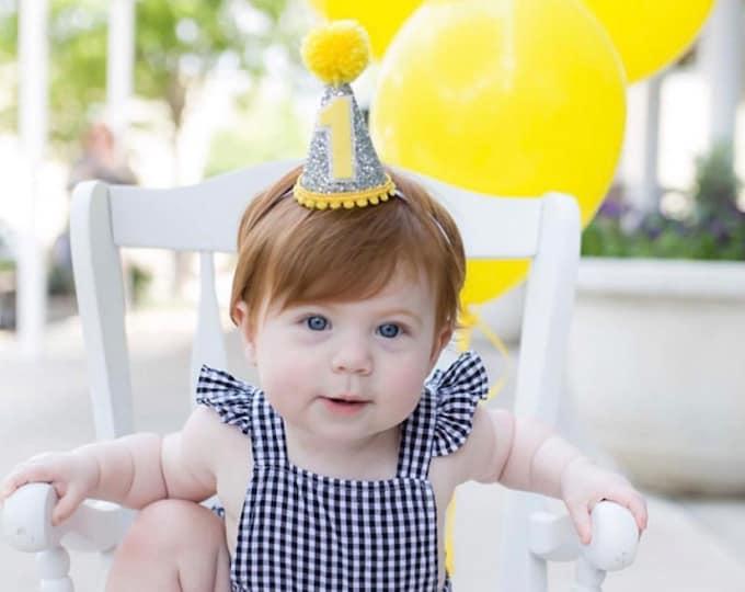 "Birthday hat, Mini Glittery ""You are my Sunshine"" First Birthday Party Hat   1st Birthday   Cake Smash   Ready to Ship"
