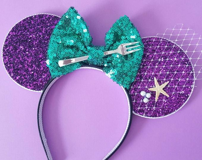 Mermaid Mouse Ears Headband | Mouse Birthday | Mermaid Headband Mouse Ears | Dinglehopper Mouse Ears| Ariel Mouse Ears | Mermaid Ears