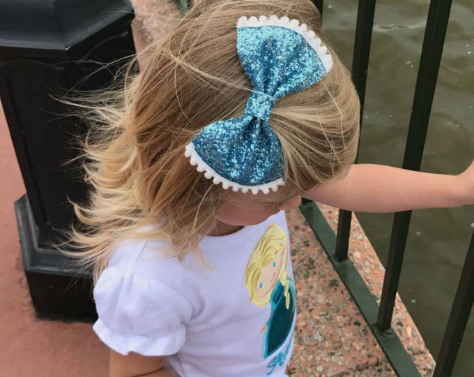 Anna and Elsa Glittery Bow Headband   Gold Glitter Bow   Cake Smash Bow   Baby Bow   Sparkle Bow   Frozen Bow