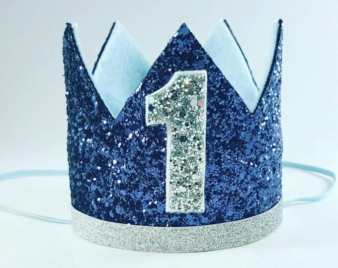 Birthday Crown || Navy and Silver Birthday || Blue Crown || Birthday || First Birthday || Baby Crown || Birthday Boy