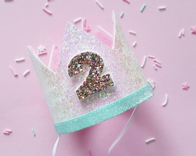 Glittery Birthday Crown   Birthday Crown   2nd Birthday Crown   Girl Birthday Crown   Baby Birthday   Pink and confetti   Ready to Ship