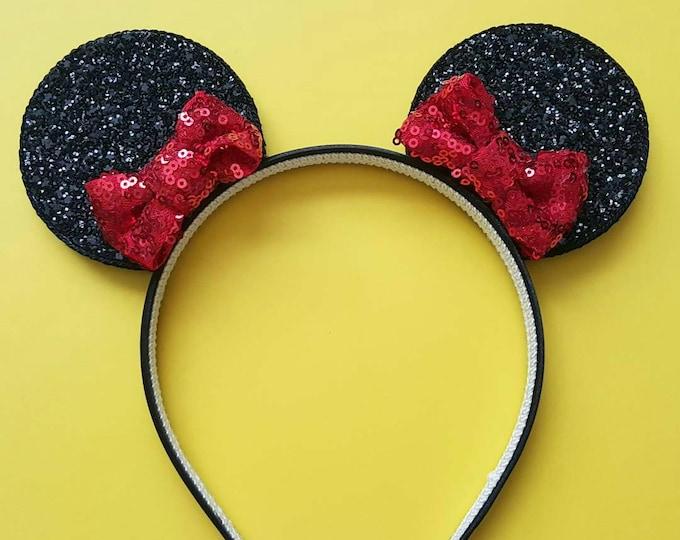 Glittery Pixie Bitty Bow Mouse Ears  Headband    Mouse Birthday    Mouse Headband