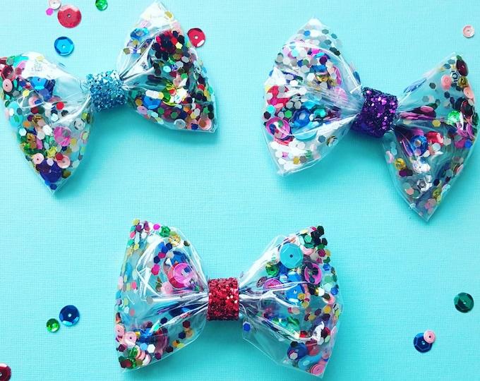 Confetti Sequin Glittery Bow Headband    Glitter Bow   Cake Smash Bow   Bow   Sparkle Bow   Bow