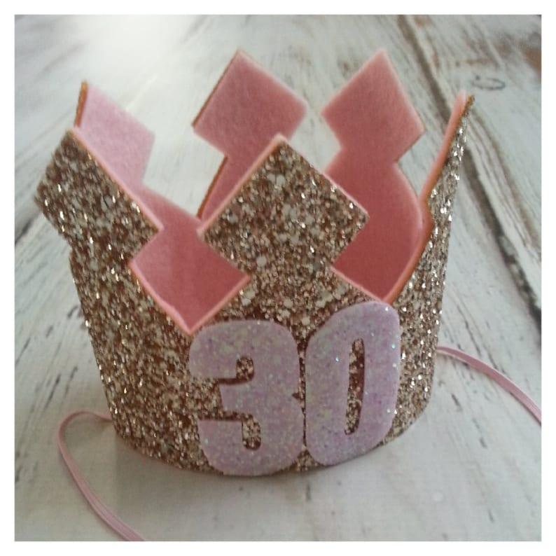Pink and Gold Glittery 30th Birthday Crown Birthday Crown  b1ddb1376ee5