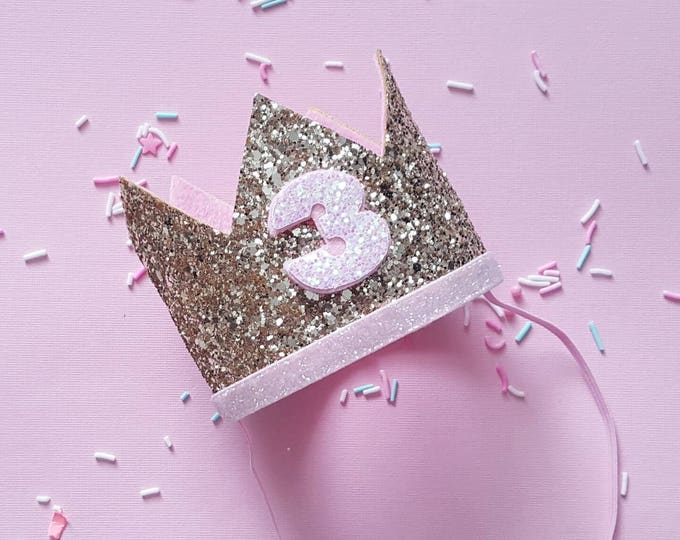 Birthday Crown || Pink and Gold Birthday || Gold Crown || Birthday Girl || 3rd Birthday || 3 Crown || Birthday Girl || third