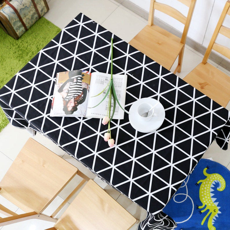 Tablecloth Geometric Black Grid Rectangle Square Round Children Dinner daily tablecloth,Party Kitchen Cotton Custommized table Runner,Pillow