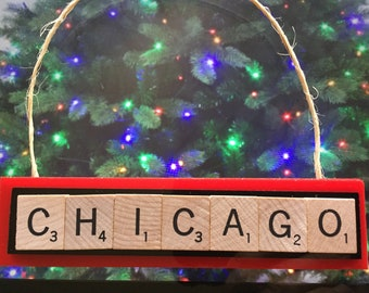 chicago blackhawks christmas ornament scrabble tiles rear view mirror magnet - Blackhawks Christmas