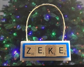 zeke elliott dallas cowboys christmas ornament scrabble tiles rear view mirror magnet keychain