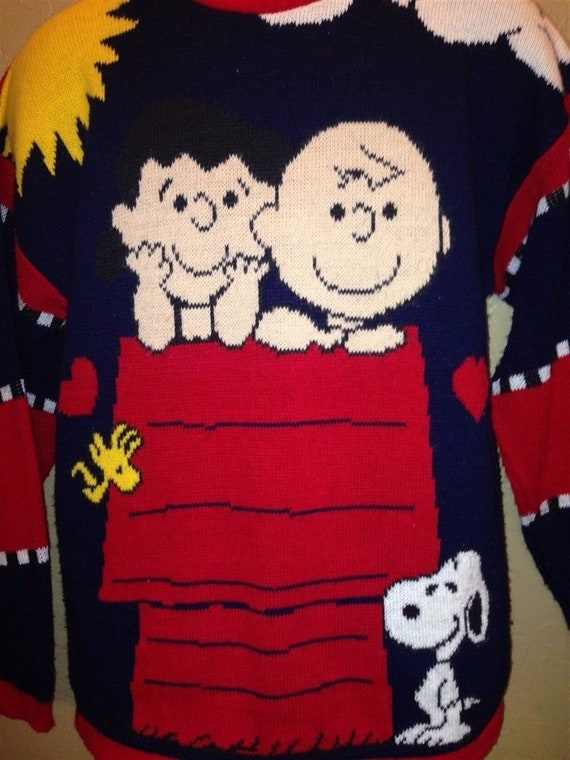 Vintage Peanuts 70s Ugly Christmas Sweater Charlie Brown Etsy