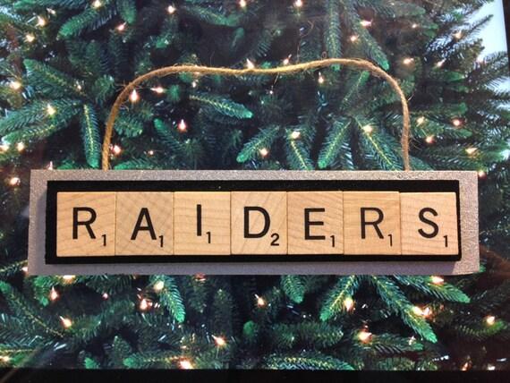 Oakland Raiders Christmas Ornaments.Oakland Raiders Scrabble Tiles Christmas Ornament Handmade Rear View Mirror