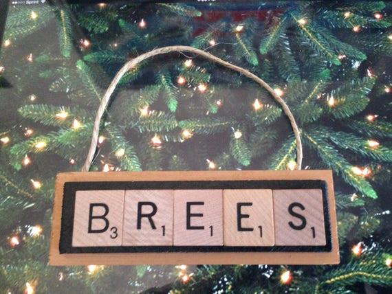 New Orleans Saints Christmas Ornaments.Brees Drew New Orleans Saints Christmas Ornament Scrabble Tiles Rear View Mirror