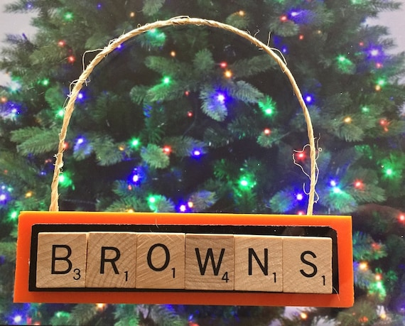 Cleveland Christmas.Cleveland Browns Scrabble Tiles Christmas Ornament Handmade Rear View Mirror Magnet