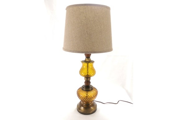Vintage Hobnail Amber Glass Table Lamp With Night Light At The Bottom