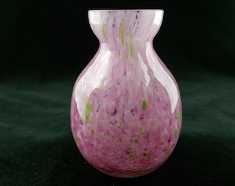 Soufflé à la main éclaboussures verre soliflore, confettis Vintage verre soliflore – des taches roses & verts