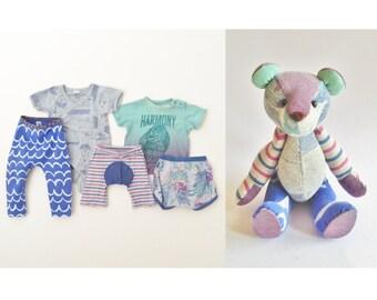 Keepsake Memory Bear, From Baby Clothing, Loved One Memorial Gift, Custom Teddy Bear