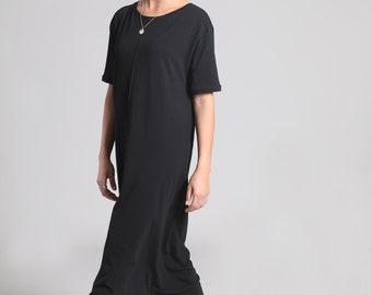 Black Maxi Dress, Cotton Dress, Black Summer Dress, Loose Fit, Long Dress, Casual Dress, Short Sleeve, Black Long Dress