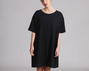 Black T Shirt Dress, Oversized T Shirt, Plus Size, Short Summer Dress, Short Sleeve Dress, Black Summer Dress, Black Tunic, Casual Dresses