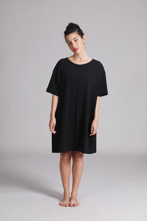Oversized Black T Shirt Dress Cotton Summer Short Dress Etsy