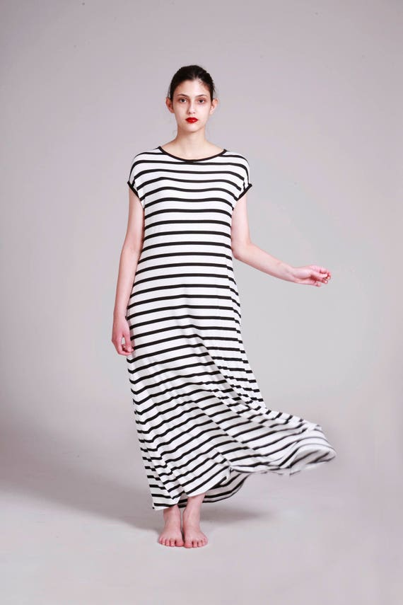 Oversized Black And White Striped Dress | Long Summer Dress