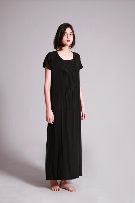Black Maxi Dress With Short Sleeve Summer Airy Pleated Etsy
