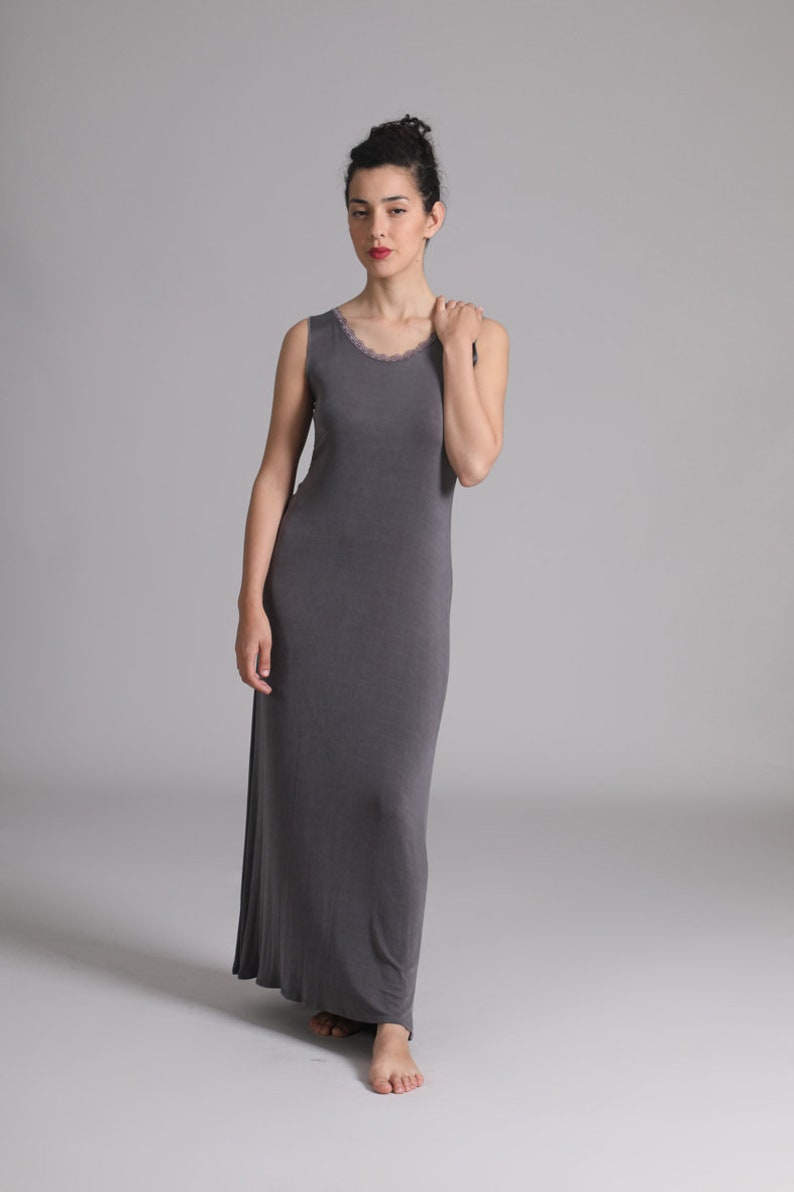 73617ee073 Grey Sleeveless Maxi Dress Cotton Summer Sexy Dress | Etsy