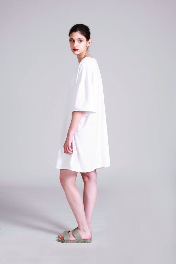Oversized White T Shirt Dress | Cotton Summer Short Dress | Casual Plus  Size Dress