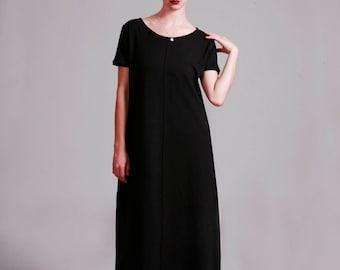 Black Dress, Long Dress, Midi Dress, Summer Dress, Loose Fit, Casual Dress, Cotton Dress, Short Sleeve, Black Long Dress, Black Gown