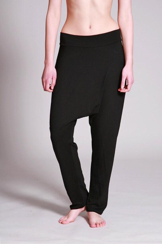 Black Harem Pants Cotton Jersey Yoga pants Loose Drop  8c58af352b5