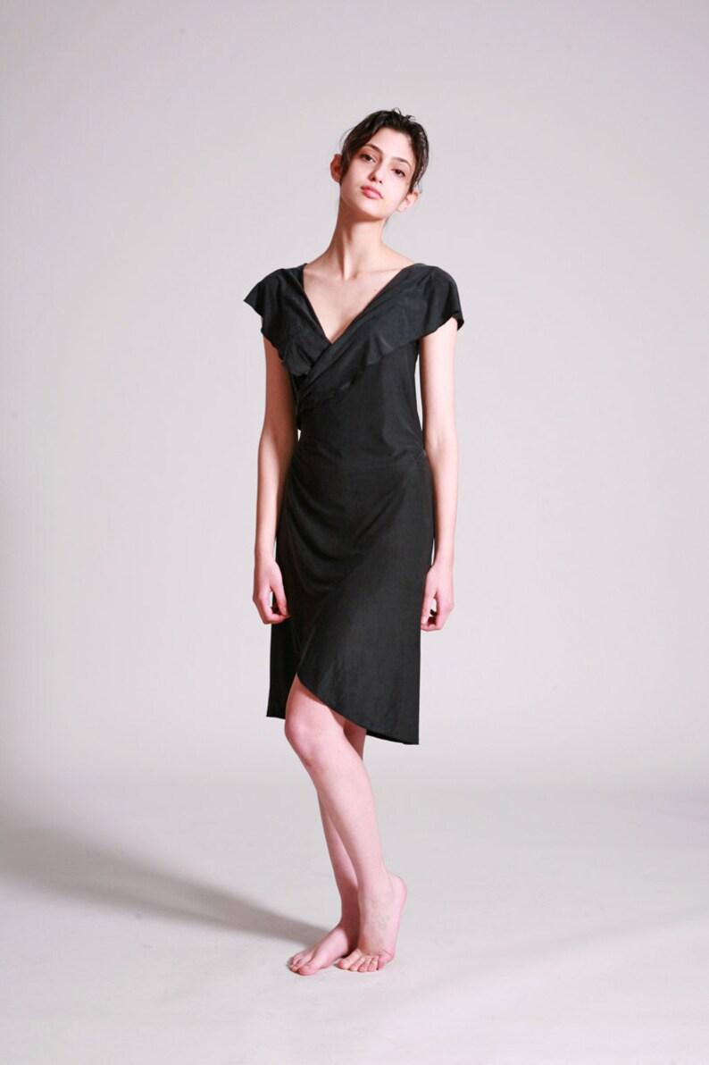 9c5ed460740c78 Little Black Dress Sleeveless Wrap Dress Sexy Dress For