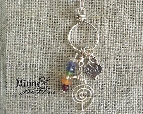 Reiki Jewelry, Chakra Necklace, Reiki & Chakra Charm holder Necklace, Healing Stones