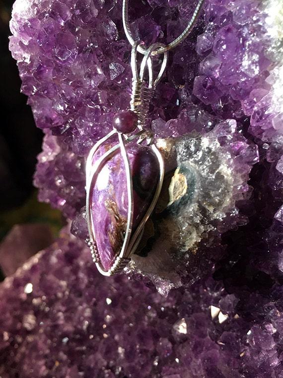 Charoite Necklace, Charoite jewelry, Charoite and Lepidolite Pendant, Lepidolite Jewelry, Crystal necklaces,Healing stone, gift idea idea